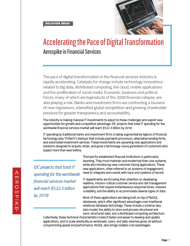 Accelerating the Pace of Digital Transformation - Aerospike in Financial Services