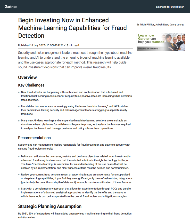 Begin Investing Now in Enhanced Machine-Learning Capabilities for Fraud Detection