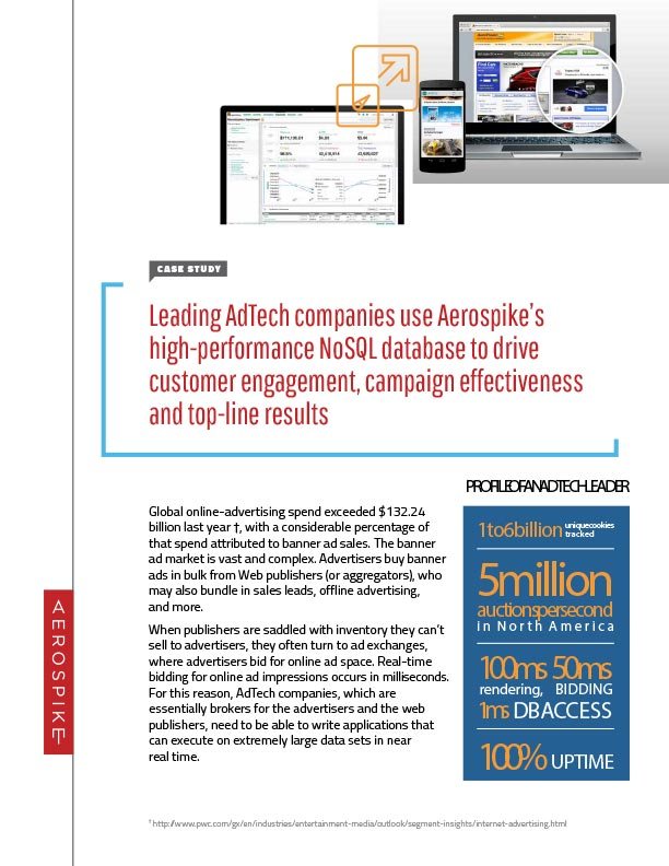 Case Study: Leading AdTech companies use Aerospike's high-performance NoSQL database to drive customer engagement, campaign effectiveness and top-line results