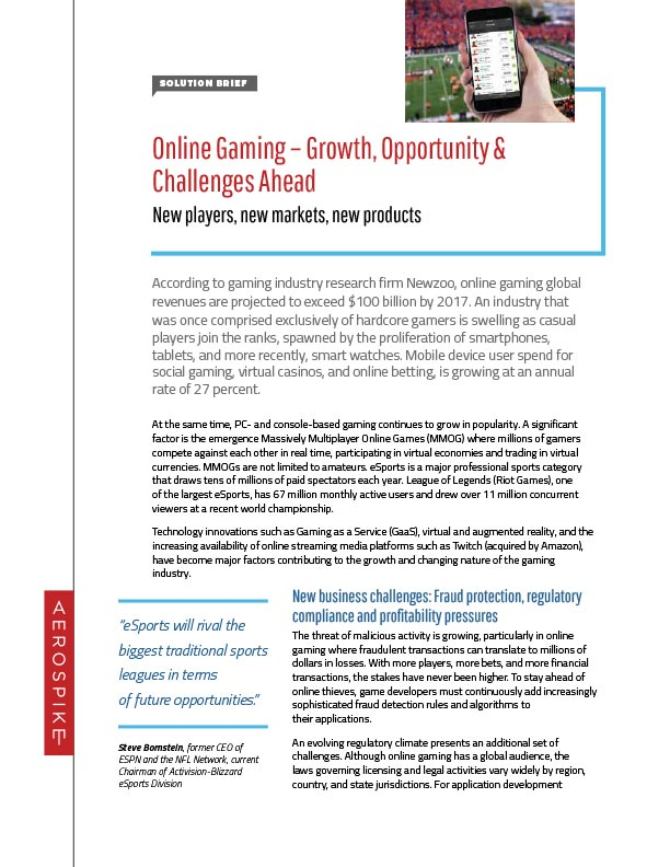 Solution Brief: Online Gaming – Growth, Opportunity & Challenges Ahead