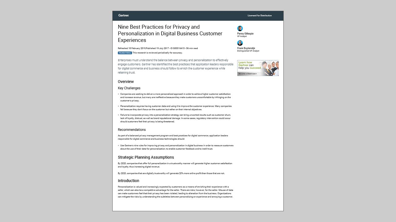 Gartner: Nine Best Practices for Privacy and Personalization in Digital Business Customer Experiences