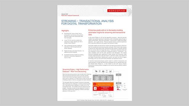 Streaming + Transactional Analysis for Digital Transformation