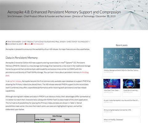 Aerospike 4.8 blog post preview