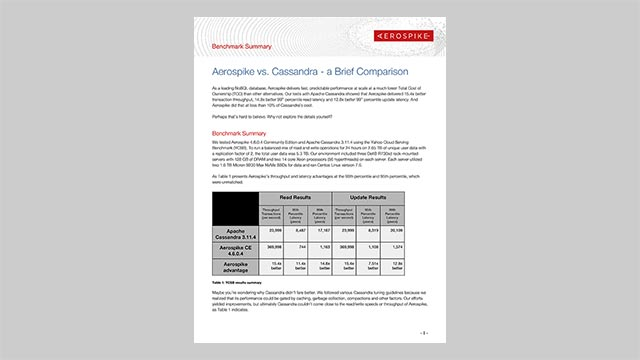 Aerospike vs. Cassandra - a Brief Comparison - Benchmark Summary